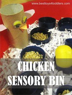Chicken Sensory Bin - easy to set up sensory bin from materials found in recycle bin