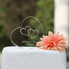 Personalized Heart Crystal Wedding Cake Topper (More Designs) - USD $ 9.99