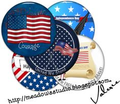 Independence Day Button Flairs... free! I have designed a new set of 12 button flairs for this special day.  They come in two sizes... large for resizing to your desired size and small for taggers and bloggers....  Enjoy!