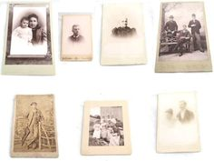 Antique Cabinet Cards Lot, 7 Piece Lot Black and White Photos, Antique Photography