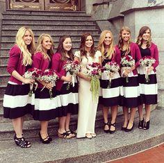 Black & White Bridesmaids Dresses.