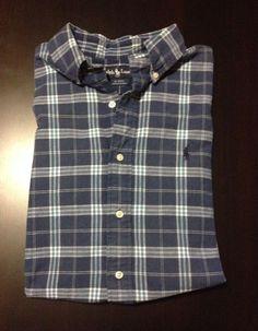 Ralph Lauren Blaire Navy Blue Plaid Button Up Mens Short Sleeve Shirt Size M #RalphLauren