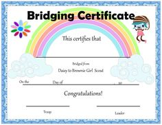 Daisy Girl Scouts: End of the Year Certificates! Girl scout daisy to brownie bridging certificate