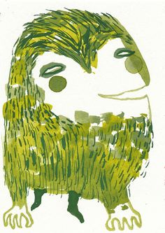 Mini Monster 55 Green and Hairy Original by Emma Kidd