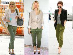 Calça verde militar + blazer branco ou blazer nude ou blazer preto