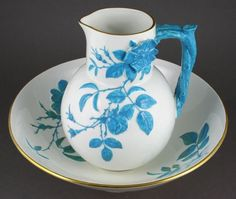 19th Century English porcelain pitcher and bowl, pitcher 7 3/4h., bowl 11 dia