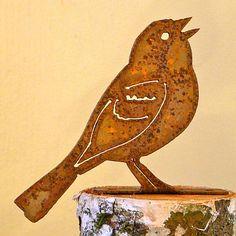 Elegant Garden Vesper Sparrow Bird Silhouette Rusty Metal Rustic Art Made USA Metal Yard Art, Metal Art, Garden Art, Garden Design, Corte Plasma, Laser Cnc, Sparrow Bird, Metal Birds, Bird Silhouette