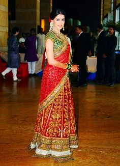 South Indian Bride in Traditional Colors of Red and Green