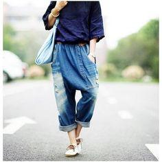 3ae36a7e6f0 Baggy Boyfriend Ripped Harem Jeans