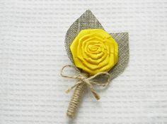 Yellow Flower burlap Boutonniere Wedding by WeddingForYou on Etsy