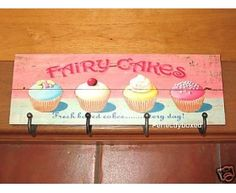 Wiscombe Coat Apron 4 Hook fairy cakes cupcakes Kitchen Plaque Pink Retro
