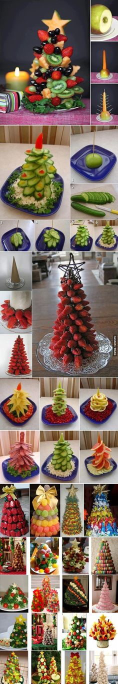 Edible Christmas trees for buffet tables made of various kinds of food - vegetables fruits . Fruit Christmas Tree, Christmas Goodies, Christmas Desserts, Christmas Treats, Holiday Treats, Christmas Holidays, Christmas Decorations, Veggie Christmas, Xmas Trees