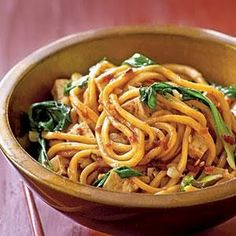 Spicy Malaysian-Style Stir-Fried Noodles Vegetarian Pasta and Grains Recipe < Vegetarian Pasta Recipes - Cooking Light Fried Noodles Recipe, Stir Fry Noodles, Rice Noodles, Yummy Noodles, Asian Noodles, Spaghetti Noodles, Vegetarian Pasta Recipes, Cooking Recipes, Healthy Recipes