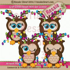 Christmas Hoot Owls 1 Clipart Digital Download by MaddieZee