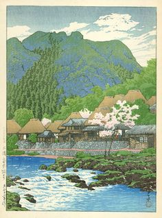Kawase Hasui (1883-1957) > Anraku Hot Springs in Osumi