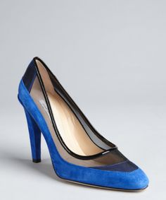Diane Von Furstenberg royal blue suede and black mesh paneled 'Darlena' pumps | BLUEFLY up to 70% off designer brands - I'm experiencing non-buyer's remorse something fierce. I missed my opportunity to buy these a couple of times.  Booooo!