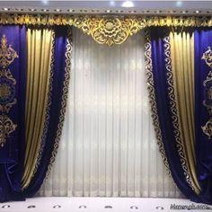 مدل پرده پذیرایی والان کتیبه ای Stage Curtains, Curtains With Blinds, Window Curtains, Luxury Curtains, Modern Curtains, Curtain Styles, Curtain Designs, Victorian Curtains, Vintage Shower Curtains