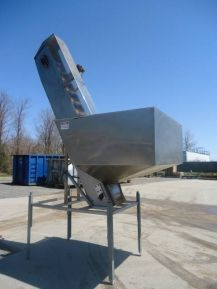 1-USED STAINLESS STEEL INCLINED BUCKET ELEVATOR.   WITH APPROX. 10 IN. WIDE BELT, THIS ELEVATOR HAS PLASTIC BUCKETS MEASURING APPROX. 4-1/2 IN. X 4 IN., WITH BUCKETS MOUNTED IN A  TWO-UP PATTERN.  PRESENT DISCHARGE HEIGHT IS APPROX. 12 FT.  ELEVATOR HAS APPROX. 52 IN. X 50 IN. FLOOR HOPPER, STAINLESS STEEL LEGS AND DC MOTOR.  (STOCK #7676Y)
