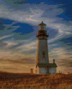 Oregon Coast Yaquina Head Lighthouse at twilight landscape Cross Stitch pattern PDF - Instant Download! by PenumbraCharts on Etsy