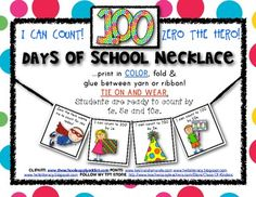ZERO THE HERO NECKLACE! I CAN COUNT: By 1s, 5s and 10s to 100! 2 necklaces included for different student counting abilities! $1.25