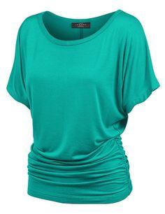 MBJ Womens Dolman Drape Top with Side Shirring S JADE