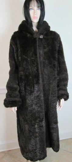 Roaman's Dark Brown Faux Fur Long Full Length Coat With Hood size M #Roamans #BasicCoat