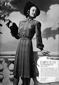 Singer Style Digest, Fall/Winter 1940 Simplicity #3583 (A dress Sarah could have made for herself?)