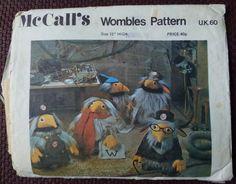Vintage Wombles sewing pattern Unique Vintage, Etsy Vintage, Vintage Shops, Mccalls Sewing Patterns, Vintage Sewing Patterns, Retro Toys, Sewing Toys, Craft Patterns, Stuffed Toys Patterns