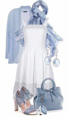 Preciosas ideas de outfits para esta primavera... Combinamos los colores azul y blanco...