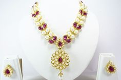 Indian Bollywood Gold Tone Pearl Fashion Necklace Pendant Earrings Set Jewelry #Handmade