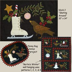 """Primitive Quilt Pattern - Wool Applique' """"Bertie's Winter Part 2"""" Penny Rug and Pillow Patterns, by Bonnie Sullivan, All Through the Night"""