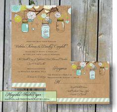 Mason Jar Wedding Invitation Custom by magnoliastreetpaper on Etsy, $39.95