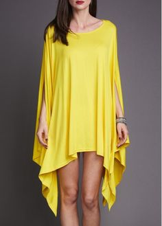 Yellow Oversized Asymmetrical Poncho Tunic T Shirt Dress