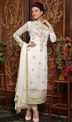 Ivory Embroidered Georgette Long Churidar Suit Price: Usa Dollar $128, British UK Pound £76, Euro95, Canada CA$139 , Indian Rs6912.