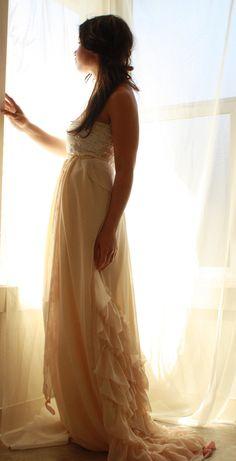 Wedding Gown Sun Kissed Strapless Ruffled Train. $750.00, via Etsy.