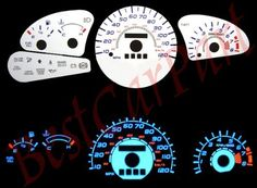 98-03 Ford Escort ZX2 WHITE GLOW EL GAUGES by High performance parts. $32.00. Item Condition: Brand New  The Colored Gauge Faces are one of the key ingredients to gaining the most functional and attractive point to any cockpit. The faces will replace the dull black layout with a bright and easy to read cluster. This is a must for all car buffs.  White Face by Day. Glowing Blue at Night! The newest and most complete line of reverse gauge faces replacement product...