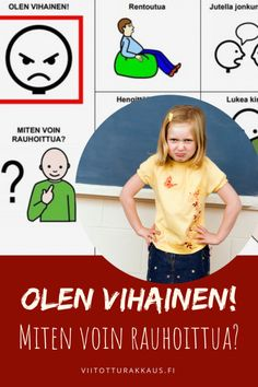 Olen vihainen! Miten voin rauhoittua? - Viitottu Rakkaus Anger Management, Social Skills, Pre School, Special Education, Emoji, Crafts For Kids, Family Guy, Teaching, Activities