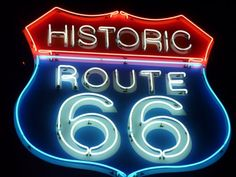 Vintage neon Route sign in Seligman, Arizona.