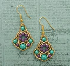 Belle of the Ball Earrings - Turquoise & Purple