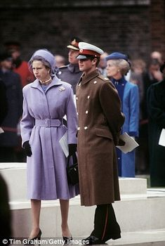 Princess Anne in 1983 with Prince Edward in the same blue outfit