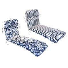 Outdoor Reversible Chaise Cushion - Blue/White Floral