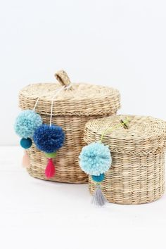 Learn how to make these adorable DIY Pom Pom Tassels for your baskets at home!