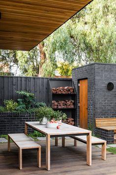 Small Garden Design, Patio Design, Exterior Design, Courtyard Design, Exterior Paint, Corner Garden, Outdoor Furniture Sets, Outdoor Decor, Facade House