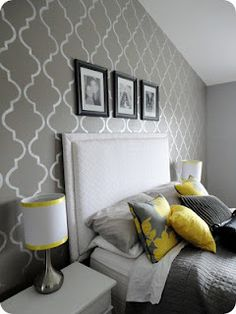 Accent wall gives me ideas for DIY artwork for my new room! Decoration Bedroom, Grey Room, Grey Bedroom With Pop Of Color, Suites, Home And Deco, Home Bedroom, Bedroom Ideas, Bedroom Designs, Bedroom Inspiration