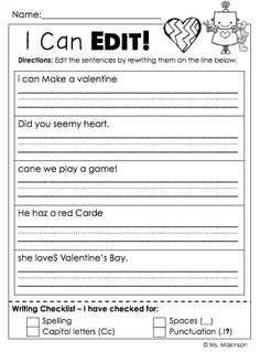 Printables Third Grade Editing Worksheets art language arts and common core on pinterest