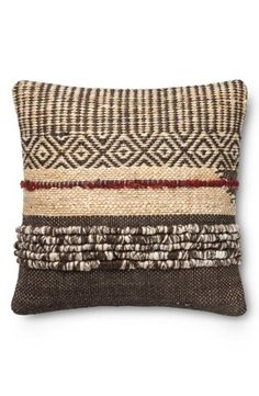"A mixed-media pillow woven from earthy jute and wool adds a perfectly rustic touch to your décor.22"" square.50% jute, 50% wool with polyester fill.Dry clean.By Loloi; imported."