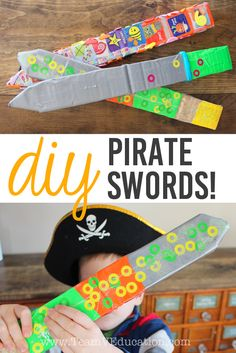 DIY Pirate Swords are perfect for kids who love imaginary play and all things pirates, knights, and fairytales. These can even be made by using scraps of materials from around the home. A great child-led learning activity. Pirate Games For Kids, Pirate Preschool, Pirate Activities, Craft Activities, Toddler Activities, Pirates For Kids, Summer Activities, Indoor Activities, Preschool Crafts