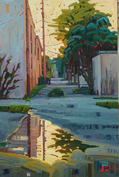 """Rain Reflected,"" by Rene Wiley by Rene' Wiley Gallery Oil ~ 30 x 20"