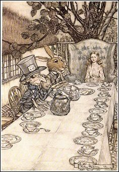 """If you don't know where you are going any road will take you there."" Alice in Wonderland illustrated by Arthur Rackham"
