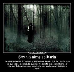 soy un alma solitaria destinada a vagar por el mundo buscando alguien que me quiera. pero se que eso. no ocurrira lo que mas me asusta es acostumbrarme a la soledad y el frio de la oscuridad...